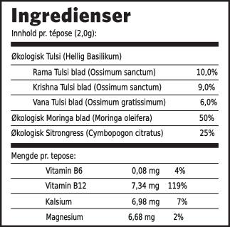 Tulsi moringa ingredienser