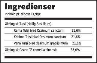 Tulsi grønn té ingredienser