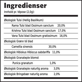 Tulsi granateple grønn té ingredienser