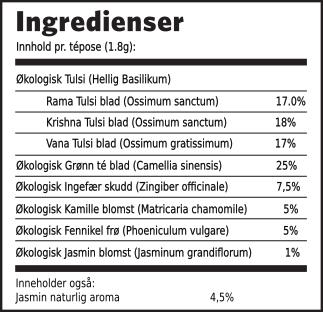 Tulsi jasmin grønn té ingredienser