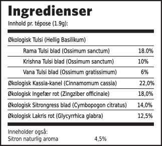 Tulsi lakris ingredienser