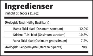 Tulsi peppermynte ingredienser